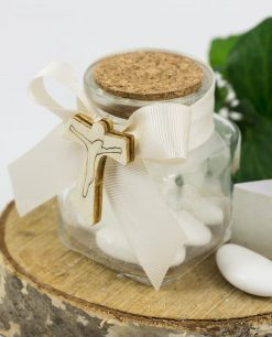 bomboniera barattolo vetro con tappo sughero e ciondolo legno croce
