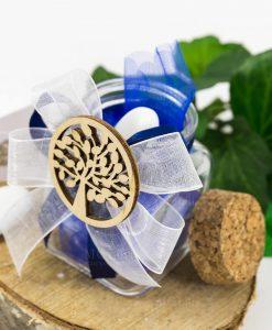 bomboniera barattolo vetro tappo sughero con fiocco doppio bianco e blu applicazione legno albero della vita