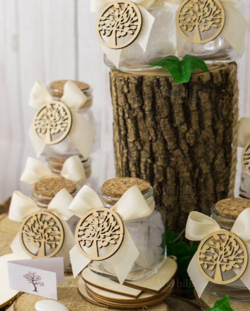 bomboniera barattolo vetro tappo sughero con fiocco e applicazione legno albero della vita