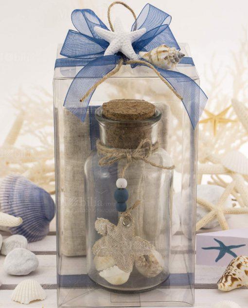 bomboniera bottiglia grande vetro con tappo sughero e stella marina stoffa scatola pvc e applicazione stella marina su fiocco blu e cordoncino