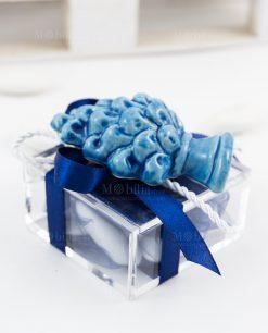 bomboniera calamita pigna blu ceramica siciliana su scatolina