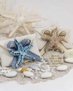 bomboniera calamita stella marina blu e tortora ceramica caltagirone su sacchetto bustina con nastro abbinato