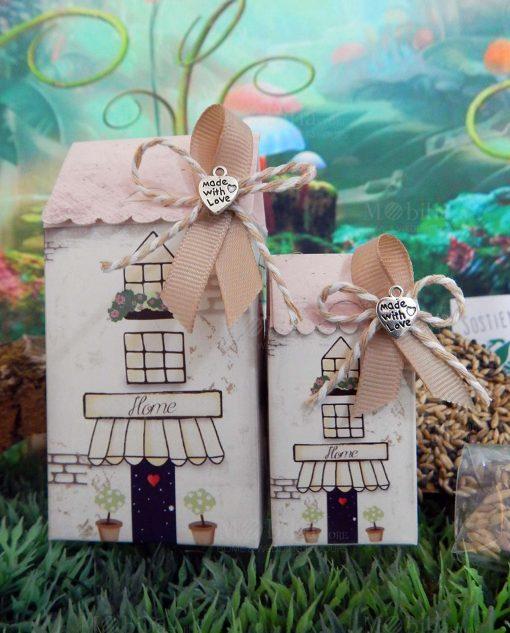 bomboniera casetta cartoncino portaconfetti con ciondolo cuore made with love