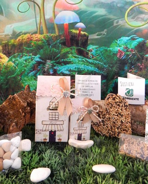 bomboniera casetta grande e piccola portaconfetti con semi di basilico legambiente