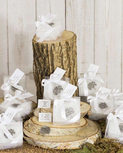 bomboniera ciondolo albero della vita tabor con scatolina trasparente pvc con fiocco bianco