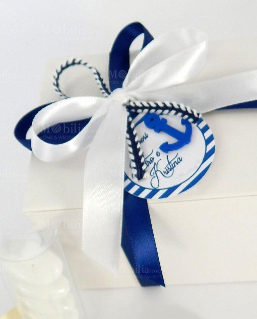 bomboniera lampada tema mare dettaglio fiocco bianco e blu