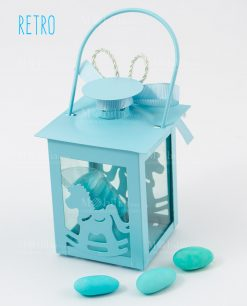 bomboniera lanterna azzurra cavalluccio bimbo retro