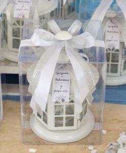 bomboniera lanterna bianca base tonda scatola pvc fiocco bianco e argento con conchiglia