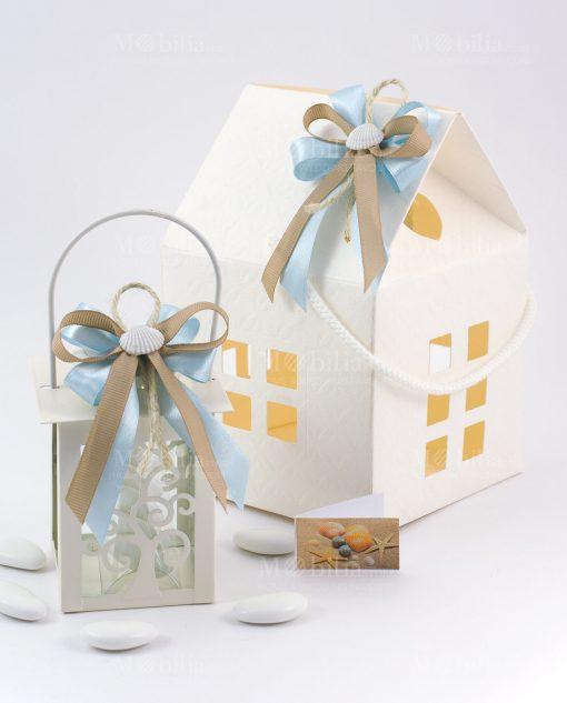 bomboniera lanterna bianca con albero della vita con fiocco doppio tortora e azzurro con conchiglia scatola cartoncino casetta con fiocco