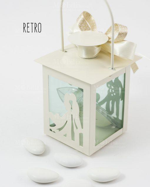 bomboniera lanterna bianca con sposini doppio fiocco bianco e tortora retro