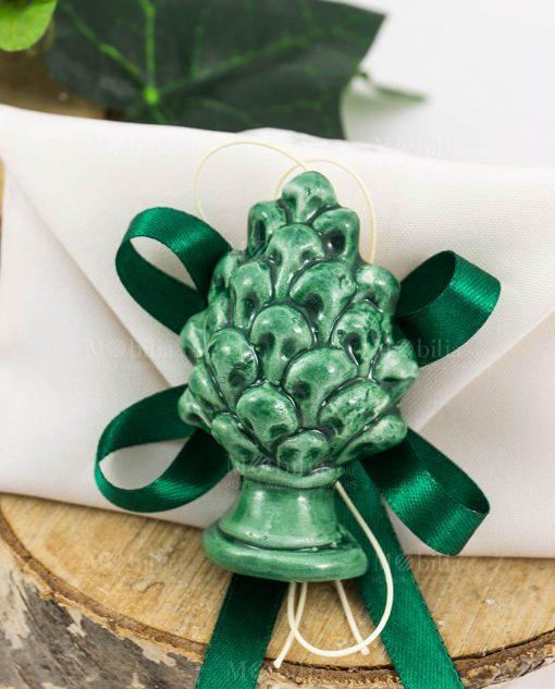 bomboniera magnete pigna verde ceramica su sacchetto bustina