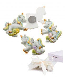 bomboniera magnete unicorno con palloncini colori assortiti