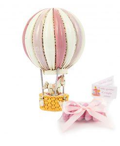 bomboniera mongolfiera con cavalluccio rosa