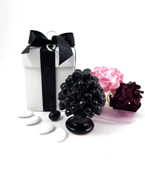 bomboniera pigna ceramica nera scatola bianca con fiocco nero