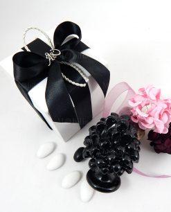 bomboniera pigna ceramica nera scatola con fiocco nero