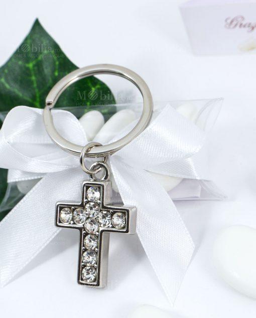 bomboniera portachiavi a forma di croce con strass