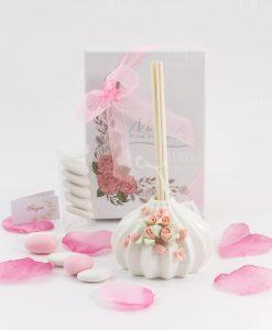 bomboniera profumatore bianco con roselline bastoncini fragranza e scatola inclusa morena