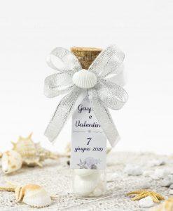 bomboniera provetta vetro con tappo sughero con fiocco argento e bianco e conchiglia