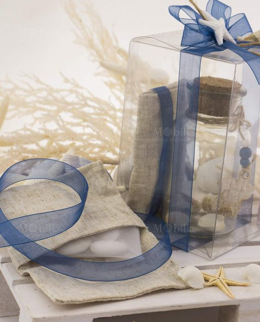 bomboniera provetta vetro tappo sughero con conchiglie e sacchetto juta scatola pvc con stella marina