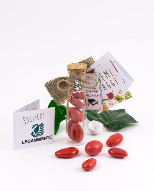 bomboniera provetta vetro tappo sughero con pendente tocco cordoncino e confetti rossi bustina semi di ortaggi legambiente