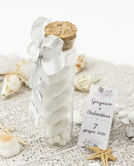 bomboniera provetta vetro tappo sughero e fiocco argento e bianco con conchiglia