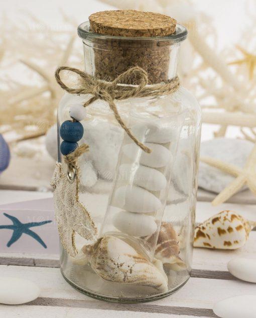 bomboniera provetta vetro tappo sughero e pendente stella juta conchiglie e tubicino