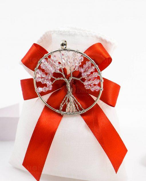 bomboniera sacchetto portaconfetti bianco con ciondolo albero della vita con perline
