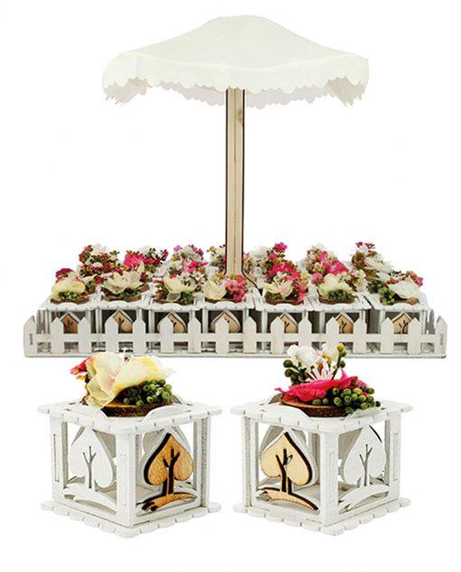 bomboniera scatolina bianca legno con fiore