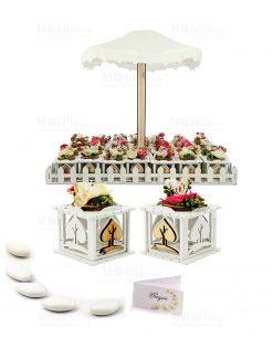 bomboniera scatolina bianca legno con fiore e confetti