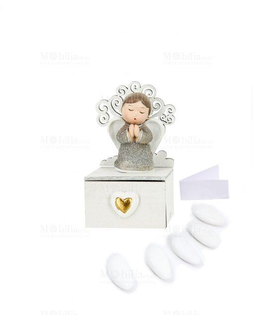 bomboniera scatolina portaconfetti con cassettino cuore angioletto argento e albero della vita