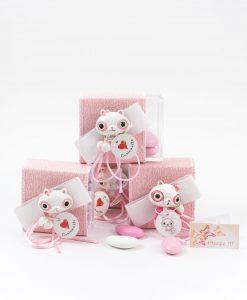 bomboniera scatolina portaconfetti rosa con applicazione poldina cuorematto