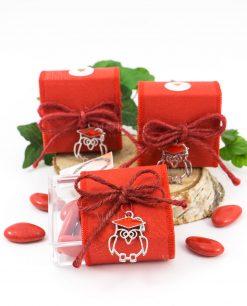 bomboniera scatolina portaconfetti rossa con ciondolo gufetto con tocco cuorematto
