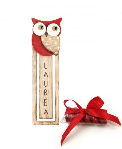 bomboniera segna libro legno con gufetto rosso