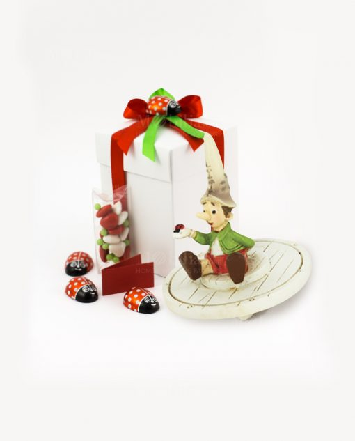 bomboniera trottola pinocchio con coccinella due modelli assortiti