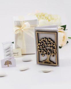 bomboniera vangelo con albero della vita legno con cuori dolcicose