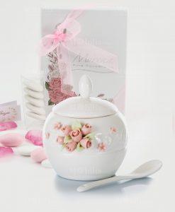 bomboniera zuccheriera porcellana bianca con cucchiaino roselline morena