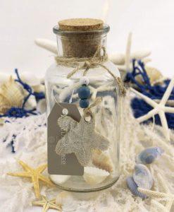 bottiglia grande vetro tappo sughero con ciondolo stella stoffa