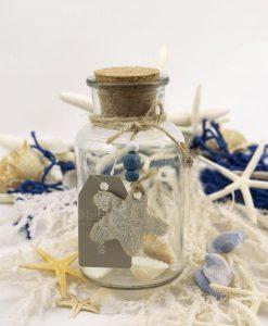 bottiglia piccola vetro tappo sughero con ciondolo stella stoffa