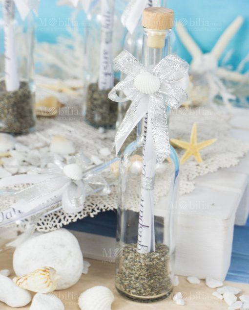 bottiglia vetro portamessaggio con fiocco a 4 argento e conchiglia