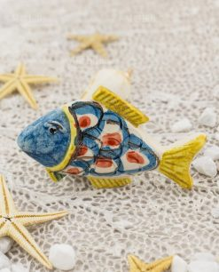calamita pesce ceramica caltagirone testa blu e coda gialla
