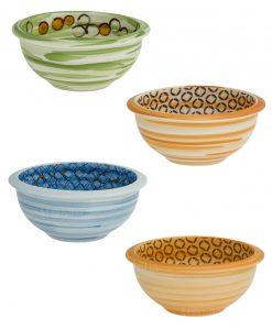 ciotoline porcellana set 2 pezzi blu arancio e verde arancio linea caos brandani