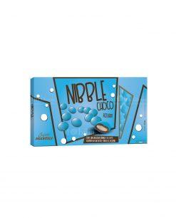 confetti lenti azzurro cioccolato ricoperto da uno strato di zucchero nibble choco Maxtris party