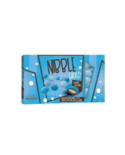 confetti lenti azzurro sfumati cioccolato ricoperto da uno strato di zucchero nibble choco Maxtris party