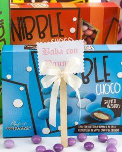 confetti lenti colorate nibble choco maxtris con bastoncino segna gusto con fiocchetto a 4