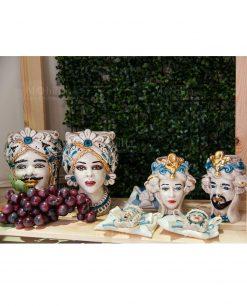 coppia testa di moro grandne e piccola con finiture oro ceramica artigianale caltagirone sicilia