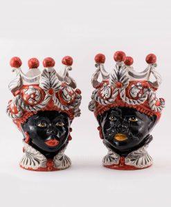 coppia testa di moro uomo e donna con copricapo bianco e rosso ceramica artigianale caltagirone sicilia