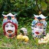 coppia testa di moro uomo e donna con corona colorata e copricapo ceramica artigianale caltagirone sicilia