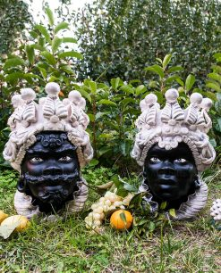 coppia teste di moro ceramica artigianale santo stefano di camastra