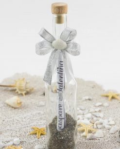 invito cerimonia bottiglia portamessaggio con fiocco e conchiglia con invito cerimonia