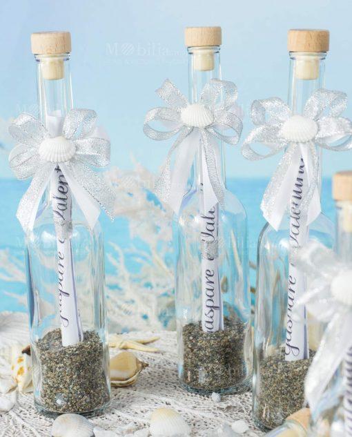 invito cerimonia bottiglia portamessaggio con tappo sughero fiocco argento e conchiglia